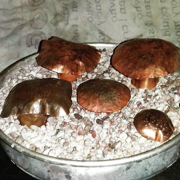 Copper Mushroom Sculptures