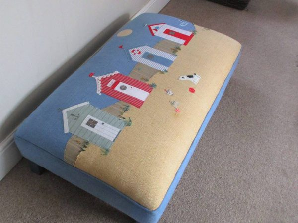 Norfolk Inspired Beach Hut Seaside Scene Footstool